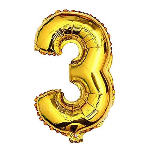 n Luftballons Buchstaben A zu Z Zahlen 0 zu 9 Geburtstag Jubiläum Hochzeit Babyparty Deko Ballons (Zahl 3) (3 Ballon)