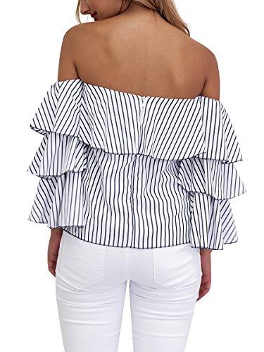 Simplee Apparel la femme est sexy à manches longues bandes mêlent luxe épaule chemise chemisier max black Noir Blanc Striped