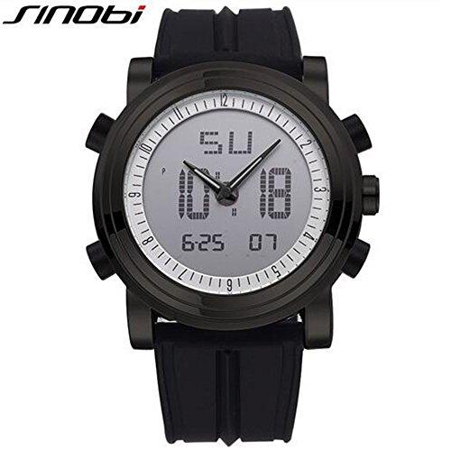 SINOBI Sport Military Man Armbanduhr Gummi Armband Digital Quarz Luminous Dual Time Tag Datum Uhren schwarz