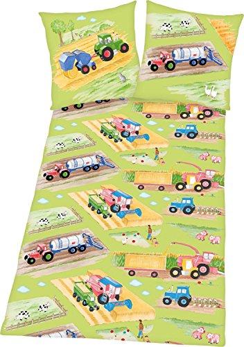 Herding 4458032050 Bettwäsche Young Collection Traktoren, Kopfkissenbezug 80 x 80 cm Plus Bettbezug 135 x 200 cm, 100% Baumwolle, Renforce