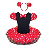 iixpin Baby Mädchen Maus Tütü Rock Set Süßes Polka Dots Fasching Karneval Kostüm Partykleid mit Maus Ohren Haarreif Rot 116-122