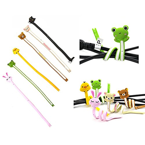 trixes-assorted-animal-cable-winder-tidy-6pc-for-wires-headphone-earphones