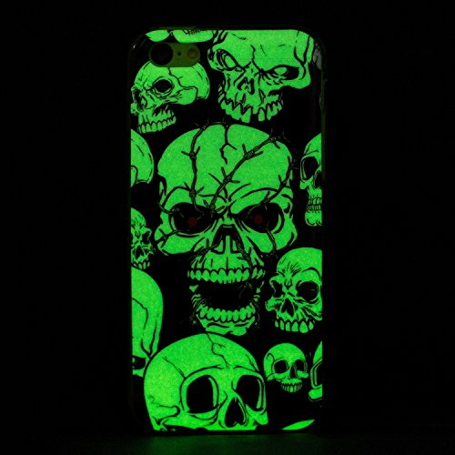 iPhone 5C Silicone Case,iPhone 5C Gel Case,Feeltech [Free 2 in 1 Black Stylus Pen] Luminous Effect Noctilucent Green Glow in the Dark Matte White Ultra Slim Soft Rubber Shock Absorber Flexible Bumper  Cranio