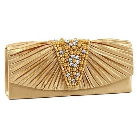 Damara Women's Pleated Magnetic Front Flaps Pearl Evening Bag Clutch Handbag,Gold