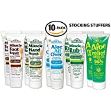 Miracle of Aloe10-Pack 1 Ounce Miracle Foot RepairMiracle Hand RepairAloe All OverMiracle RubAloe Relief Green Gel. GREAT STOCKING STUFFERS!