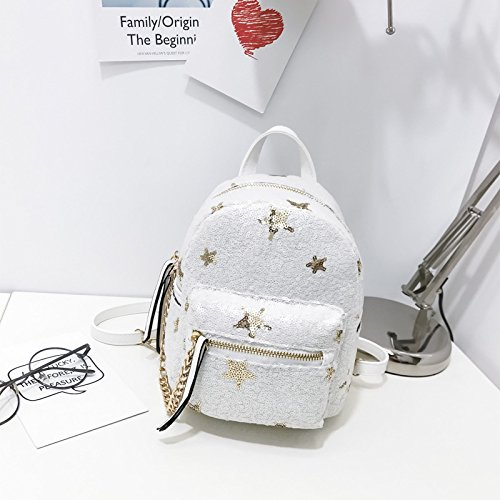 Mefly 2017 bambini Mini borsa a tracolla femmina estate coreana nuova Moda Bimbo paillettes Borsa Zaino per il tempo libero Nero White