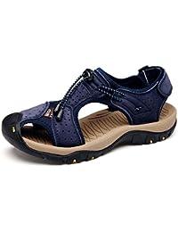 Onfly Hombres Chicos Dedo del pie cerrado Cuero Casual Sandalias Zapatillas Antideslizante Respirable Para caminar Al aire libre Sandalias Zapatos de agua Zapatillas de deporte ocasionales Playa Zapatos San , blue , 45