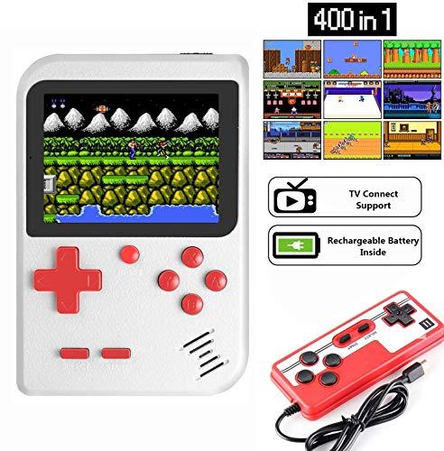 ZQTRT Handheld Spielkonsole,Retro-Mini-G-AME-Maschine mit 400 klassischen FC-G-Ames und 3-Zoll-Bildschirm, Unterstützungsspiel im Fernsehen und Zwei Spielern, 800-mAh-Akku