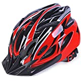 Coromose Bicycle Helmet Integrated Molding Breathable Cycling Helmet for Man Woman Red and Black Free Size