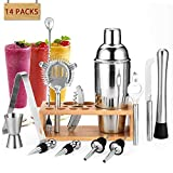 Gomyhom Set Cocktail, 14 Pezzi Kit Da Barman Professionale In Acciaio Inox, 750ml Shaker Per Cocktail, Shaker Cocktail Con di legno Supporto, Per Casa E Bar
