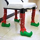 Bangle009 New 1Pc Christmas Restaurant Table Chair Leg Feet Socks Shoes Cover Xmas Party Decor - Red