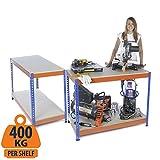 Zwei zum Preis von einem.–mit Profi-/Robuste 2workbench 400kg (UDL) Workstation zu Hause, Garage DIY Arbeit –, 400kg UDL, Tisch 900mm H x 1200mm W x 600mm T
