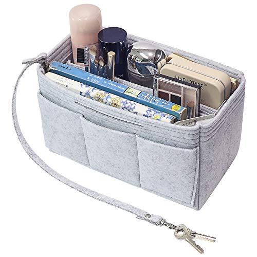 Medium Tote Bag Handtasche (Soyizon Filz Tote Handtasche Handtasche Organizer 2in1 Tasche Tote Insert Bag in Tasche Handtasche Liner Tote Organizer Tasche Pouch (Hellgrau,Medium))