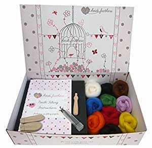 Heidifeathers® British Wool Needle Felting Kit - with Handle, Glass Eyes and Finger Protectors