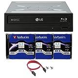 LG 16x Blu-Ray interno WH16NS40Bundle con 3pezzi m-disc BD, Cyberlink software di masterizzazione cavo e accessori (supporta CD DVD BD Bdxl Mdisc)