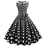 OverDose Damen Urlaub Strand Stil Frauen Vintage Dot Bunte Druck Sleeveless Mesh Patchwork Abend Party Bar Dating Schlank Swing Kleid Rock Dirndl(Schwarz,EU-40/CN-2XL )