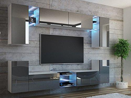 Wohnwand G Grau Hochglanz/ Weiß ✔ Gehärtetes Glas ✔ ABS- Kanten ✔ Kanten in Hochglanz ✔ MDF-Fronten ✔ LED Beleuchtung ✔ Push To Open ✔ Grifflos ✔ Modern ✔ Design ✔neue bessere Version (anderer Hersteller)