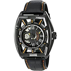 Stuhrling Original Men's 279.335557 Xtreme Millennia Expo Automatic Self-Wind Ion-Plated Skeleton Watch with Black Leather Band