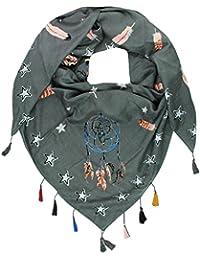 Mevina Damen Schal Glitzer Steine Traumfänger Feder Sterne Print mit Bommeln Quasten übergroßer quadratisch Deckenschal Oversized Stern