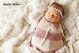 Creative Mutter Weihnachten Cocoon Schlafsack für Neugeborene Jungen Mädchen Baumwolle Strick Crochet Fotografie Prop (weiß/rosa)