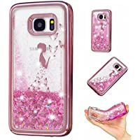 Samsung Galaxy S7 Edge Coque, Vandot Souple TPU Étui de Protection Sables Mouvants Placage Cover pour Samsung Galaxy S7 Edge Housse Belle Motif Fille Papillons Coque Luxe Bling Glitter Brillant Paillette Couverture Soft Silicone Back Case Plating Case Hull Anti-rayures Anti-Scratch Shell pour Samsung Galaxy S7 Edge SM-G935F - Fille Papillons (Or Rose)
