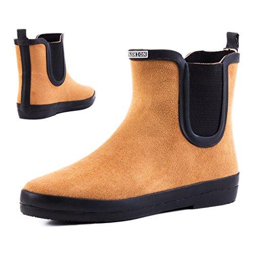 Stylische Damen Schlupf Stiefeletten Chelsea Boots Kurzschaft Schuhe in hochwertiger Lederoptik Camel