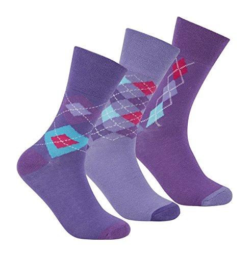 Cottonique Damen Baumwolle Rich Comfort Fit, unelastisch, Top Socken 4–8 Gr. Einheitsgröße,  - Purple Argyle (Argyle-schuh)