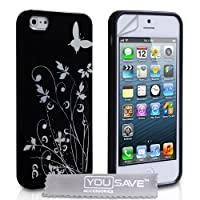 iPhone 5 Floral Butterfly Silicone Case - Black / Silver