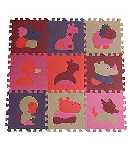Mat Interlocking Mats mousse EVA Foam Tapis (9 Tuiles) Animaux couleur aléatoire