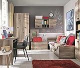 lifestyle4living Jugendzimmer, Jugendzimmermöbel, Kinderzimmer, Kinderzimmermöbel, Jugendmöbel, Kindermöbel, Monument Oak, Eiche, Lava, braun, 4-teilig, 90 x 200 cm