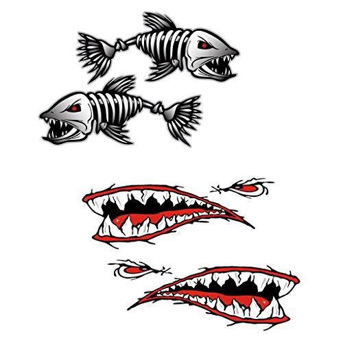 Descripción:      Marca de diseño nuevo y fresco, 2 pegatinas estilo, 2 piezas Tiburón boca dientes y 2 trozos de pescado esqueleto  Hecho con el vinilo de alta calidad  Es fácil de aplicar y elimina sin residuo o daño a la superficie  Resist...