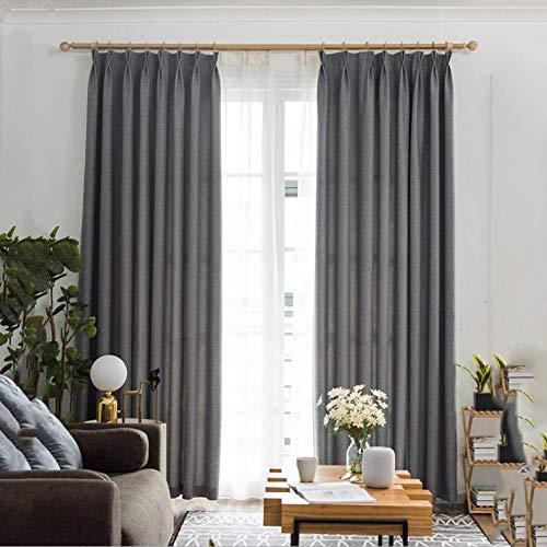 XFANAFAN Nordic modernen minimalistischen einfarbigen Schattierung Wohnzimmer Schlafzimmer Erker Hotel Schlafsaal Vorhänge 140 * 260cm 2 Platten grau - Schattierungen Von Grau