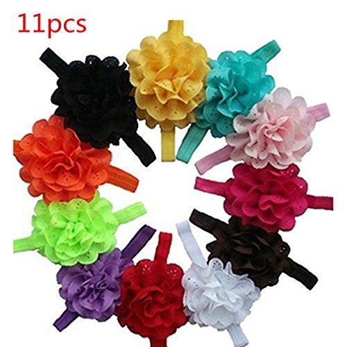 11 Stücke Baby Mädchen Elastische Stirnbänder Chiffon Aushöhlen Blumen Haarschmuck für Neugeborene Kleinkinder Kinder von TheBigThumb
