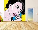 Vlies Fototapete - Pop-Art Frau mit Telefon - 300x300 cm - mit Kleister - Foto auf Tapeten - Wandtapete – Vliestapete – Wanddeko