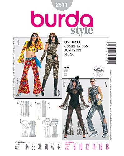 Burda 2511 Schnittmuster Kostüm Fasching Karneval Overall Jumpsuit (Damen, Gr. 34 - 44) Level 2 (Overall Kostüm Diy)