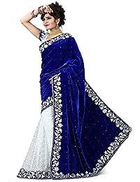 Fashioniests Creation Women's Velvet Saree With Blouse Piece (Sareevelvet1_Blue)