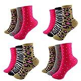 12 Paar Ladies Socks Mädchen Socken Kinder Strümpfe 90% Baumwolle A.S-100 Gr. 23-38 Verschiedene Farben und Motive (35-38)