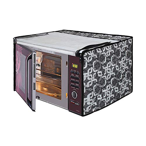 Glassiano Geometric Grey Printed Microwave Oven Cover for IFB 25 Litre Convection Microwave Oven (25SC4, Metallic Silver)