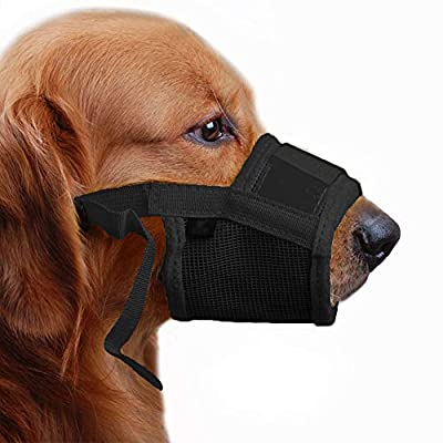 TFENG Dog Muzzle Soft Prevents Food Scavenging Avoid Harmful Self-Licking No Barking Black Pink Yellow Orange S-XXL by TFENG Inc.