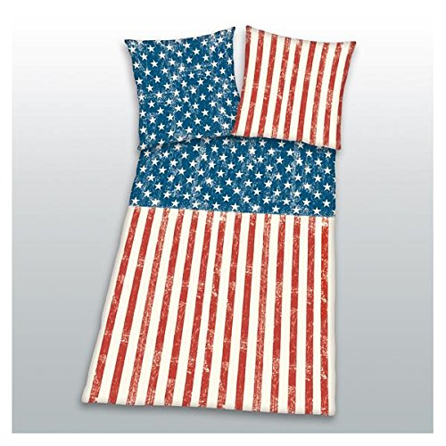 Bettwäsche Stars and Stripes amerikanische Flagge 135x200cm Herding