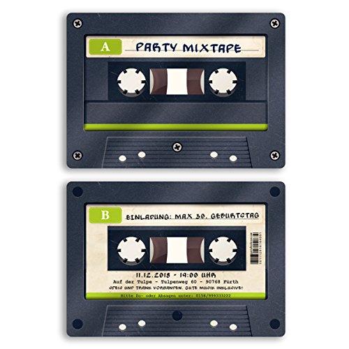 (10 x) Einladungskarten Geburtstag Kassette Musik CD Retro Vintage Einladungen