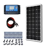 ECO-WORTHY 12 Volt 100 Watt Monocrystalline Solar Starter Kit: 1pc 100W Mono Solar Panel + 20A LCD Solar Controller + 30Ft Solar PV Cable with MC4 Connectors + Z Mounting Brackets 8