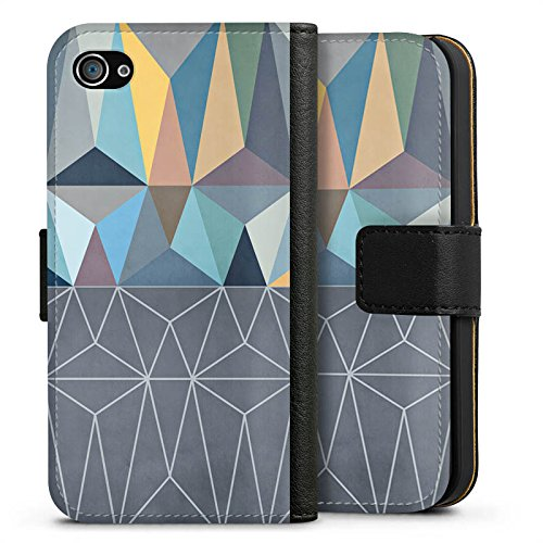 Apple iPhone X Silikon Hülle Case Schutzhülle Muster Grafisch Abstrakt Sideflip Tasche schwarz