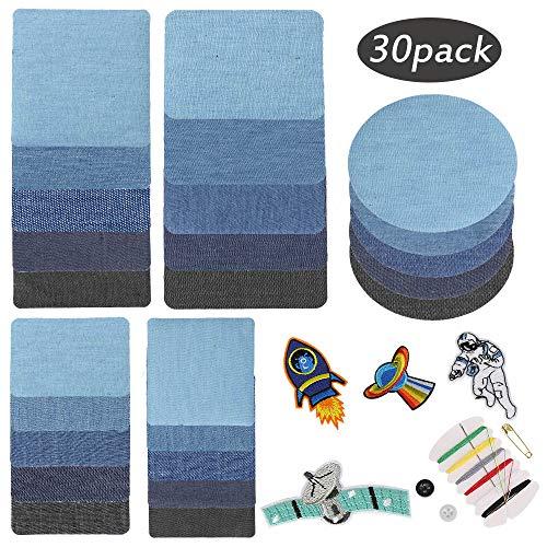 Etmury Patches zum Aufbügeln, 30 Stück Patch Sticker, Jeans Bügelflicken Aufbügelflicken Bügelflicken Denim Patches Jeans Reparatursatz für Jeans, DIY Taschen Kleidung Verschiedene (Bereich 29-shirt)