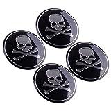 beler 4stk 56mm Metall Auto SUV Crossbone Skull Logo Abzeichen Emblem Aufkleber Reifen Felgenmitte Radnabenkappen