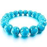 MunkiMix 12mm Bracelets d'énergie Lien Poignet Pièrre d'Énergie Turquoise Bleu Buddha Mala Boule Perle Homme,Femme