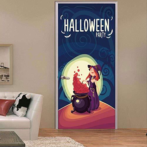 Türsticker Selbstklebende Hexe Braut Halloween Thema Poster Door Vinyl wasserdichte Tür Aufkleber Zu Hause Dekoratives Wandbild Di Tür Aktualisieren Dezal 77x200cm