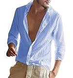 Herren Leinenhemd Sommer Freizeithemd Slim Fit Langarm Leicht Strand Hemd