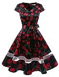 Gardenwed Damen 1950er Vintage Rockabilly V-Ausschnitt Retro Hepburn Stil Cocktailkleid Weihnachten Kleid Black Cherry XS