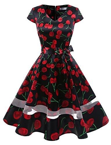 Gardenwed Damen Vintage 1950er Retro Rockabilly Cocktail Party Kleid Black Cherry XS